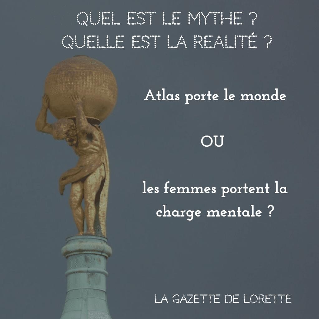 Statue d'Atlas porte tout le poids du monde et la femme tout le poids des tâches ménagères