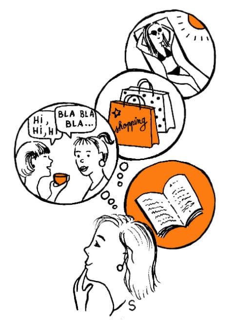 Activités exaltantes d'une mère de famille, dessin de Sylvie Martin pour la Gazette de Lorette