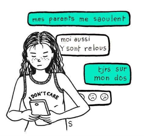 Adolescents adorables, dessin de Sylvie Martin pour la Gazette de Lorette