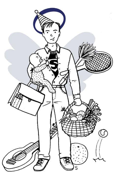 Mari et père parfait, dessin de Sylvie Martin pour la Gazette de Lorette