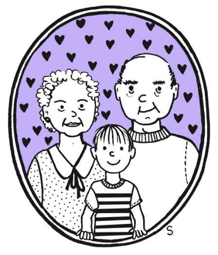 Grands-parents merveilleux, dessin de Sylvie Martin pour la Gazette de Lorette